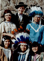 Clive with Indian entertainers in Montana