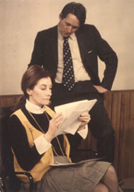 Going over promotional scripts with Jean Marsh, star of Upstairs,Downstairs on Masterpiece Theatre